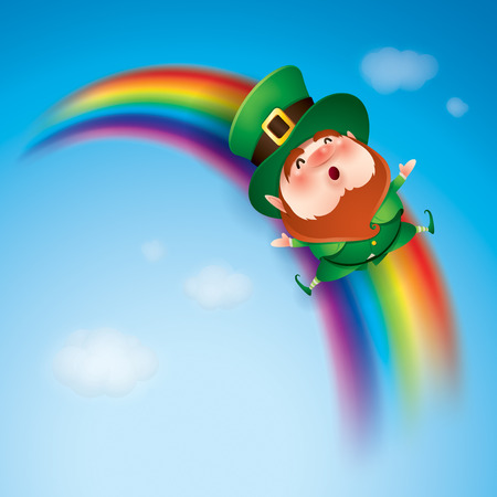 cartoon character of funny leprechaun in green cylinder hat riding rainbow in sky, saint patrick day concept.