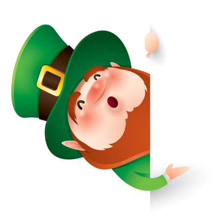 cartoon character of funny leprechaun in green cylinder hat peeking out from behind white wall, saint patrick day concept.