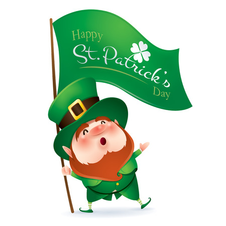 cartoon character of funny leprechaun in green cylinder hat holding flag with inscription happy saint patrick day. Ilustração
