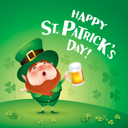 cartoon character of funny leprechaun with mug of beer standing on grass on clover background, saint patrick day concept.
