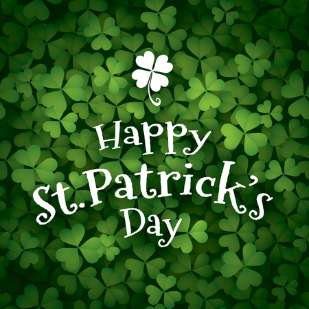 greeting card with clover leaves and inscription happy saint patrick day. Иллюстрация