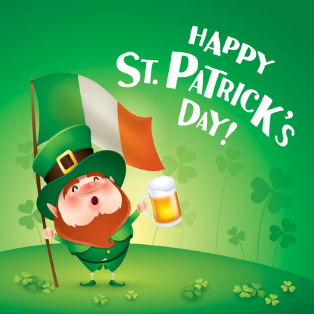 cartoon character of funny leprechaun holding beer and flag of Ireland, saint patrick day.