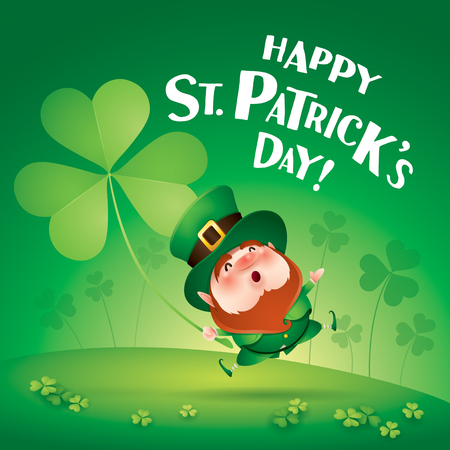 cartoon character of funny leprechaun with big clover in hand jumping on grass, saint patrick day concept. Archivio Fotografico - 124994222