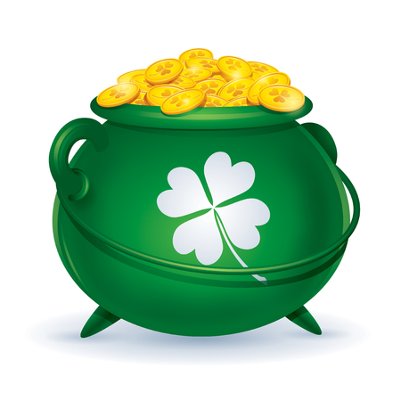 green pot with golden coins, happy saint patrick day concept.