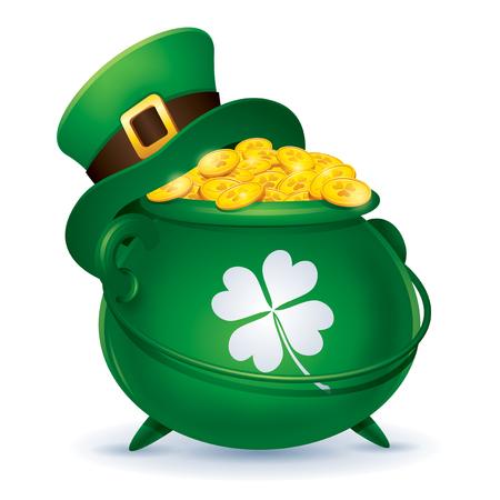 green cylinder leprechaun hat on pot with golden coins, happy saint patrick day concept. Illustration