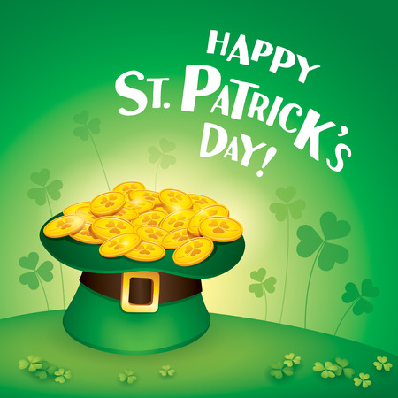 green cylinder leprechaun hat with golden coins on meadow, happy saint patrick day concept.