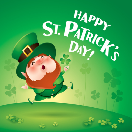 cartoon character of funny leprechaun with clover in hand jumping on grass, saint patrick day concept. Stockfoto - 124994224
