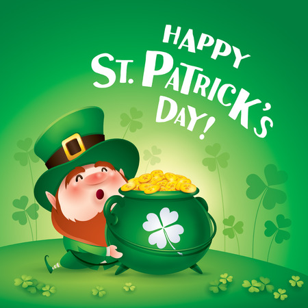 cartoon character of funny leprechaun in green cylinder hat holding pot with golden coins on meadow, happy saint patrick day concept. 向量圖像