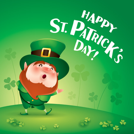 cartoon character of funny leprechaun in green cylinder hat on meadow, happy saint patrick day concept. 向量圖像