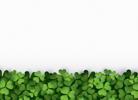 Green clover leaves at bottom isolated on white background. Ilustrace