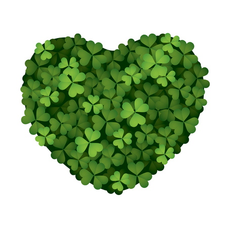Clover leaves forming a heart shape isolated on white background.