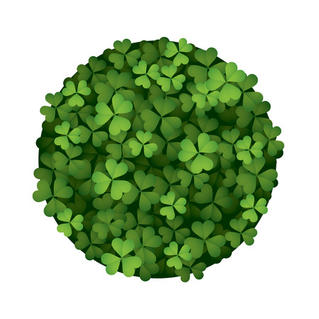 Clover leaves forming a round shape isolated on white background.