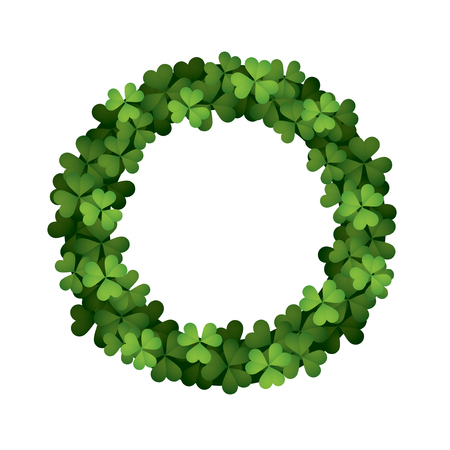 Greeting card with wreath of clover leaves, saint patrick day concept.