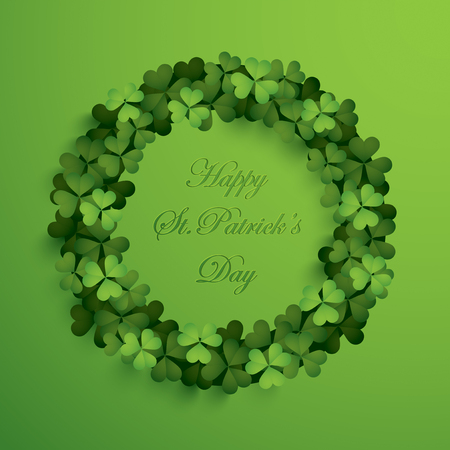 Greeting card with wreath of clover leaves and inscription happy saint patrick day concept. Ilustrace