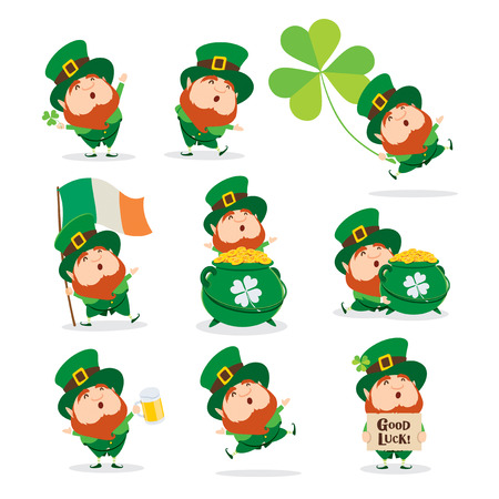 set of cartoon characters of funny leprechauns in green cylinder hats, saint patrick day concept.
