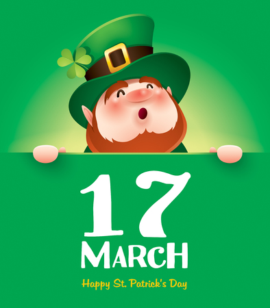 cartoon character of funny leprechaun holding board with inscription 17 march on green background, saint patrick day concept. Illustration