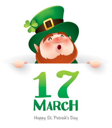 cartoon character of funny leprechaun holding board with inscription 17 march on green background, saint patrick day concept Illustration