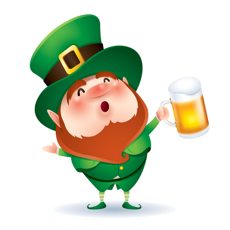 cartoon character of funny leprechaun in green cylinder hat holding beer, saint patrick day concept.