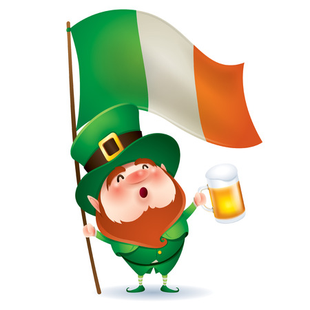 cartoon character of funny leprechaun holding beer and flag of Ireland, saint patrick day concept.