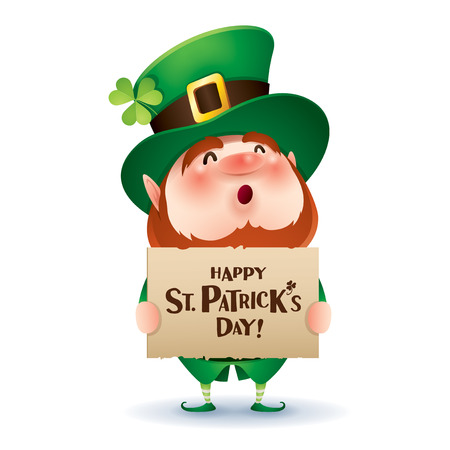 cartoon character of funny leprechaun in green cylinder hat holding board with inscription happy saint patrick day.