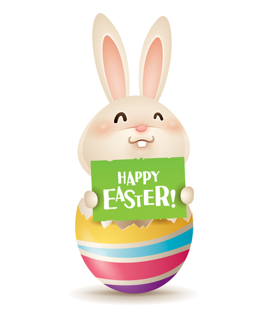 Easter bunny inside a cracked easter egg with a sign. Isolated. Illustration