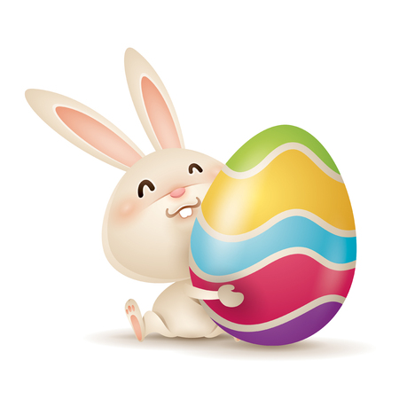 Easter bunny hugging a decorated easter egg. Isolated.