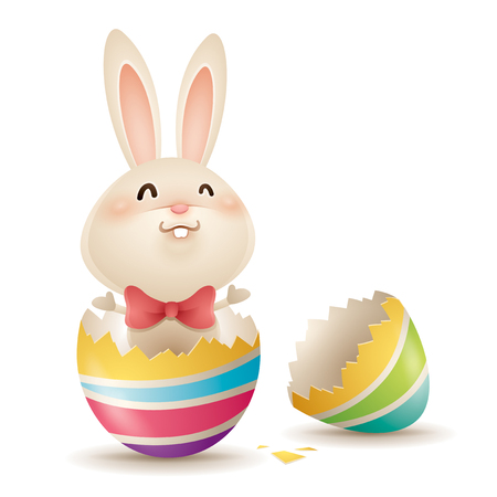 Easter bunny popping out of an easter egg. Isolated. Illustration