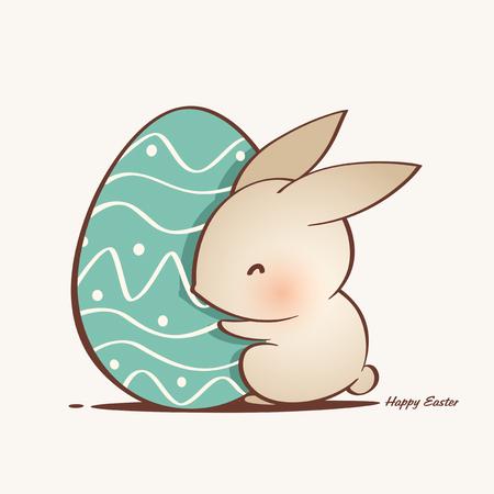 cute Easter bunny and Easter egg vector Reklamní fotografie - 124994254