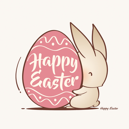 cute Easter bunny and Easter egg vector