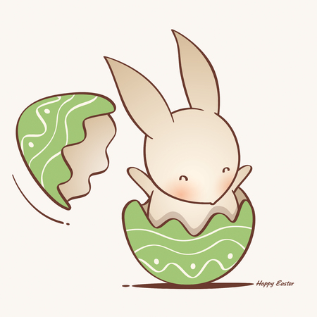 Happy Easter! Easter bunny inside a cracked easter egg. Illustration