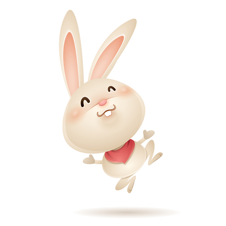 Easter bunny jumps in excitement. Isolated.
