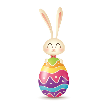 Easter bunny hugging color painted egg.