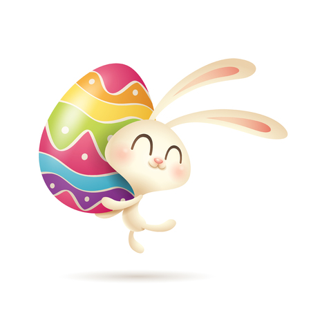 Easter bunny hugging color painted egg. Archivio Fotografico - 124994287