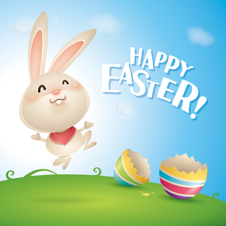 Happy Easter! Easter bunny and egg in field. Wide copy space for text.