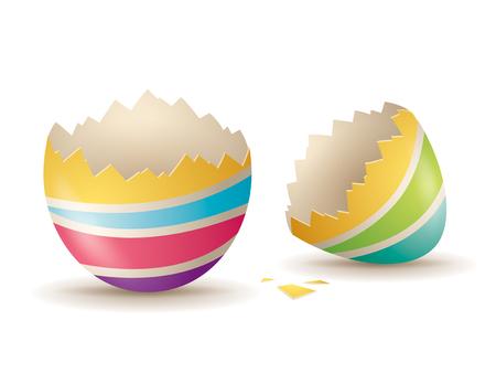 Cracked eggshell. An empty egg shell halves over white background. Vector Illustratie