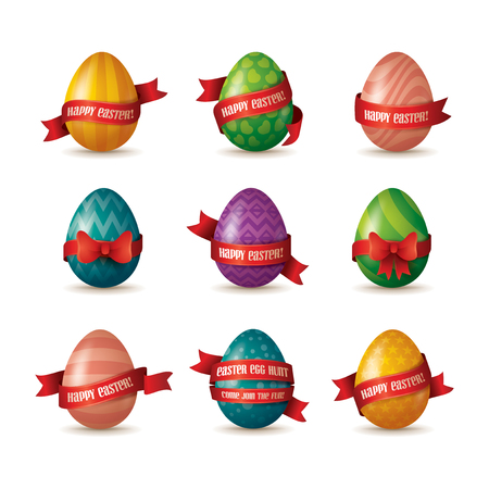 set of painted colorful eggs with red ribbons isolated on white background, Happy Easter concept.