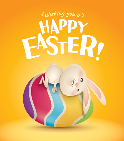 Happy Easter! Easter bunny and egg in plain background. Wide copy space for text.