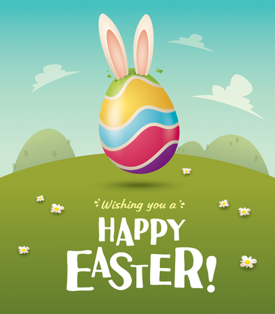 Happy Easter! Easter bunny and egg in field. Wide copy space for text. Imagens - 124994314