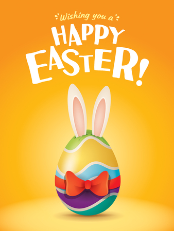 Happy Easter! Easter egg with red ribbon in plain background. Wide copy space for text.