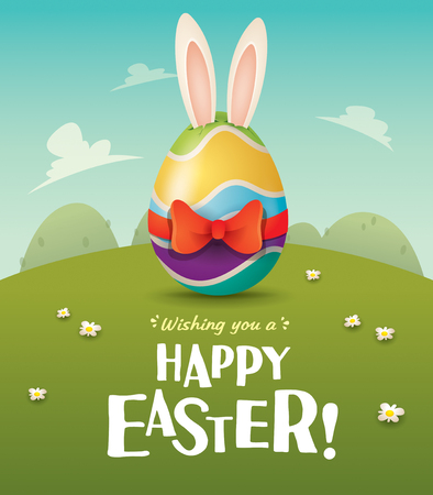 Happy Easter! Easter egg with red ribbon in field. Wide copy space for text.