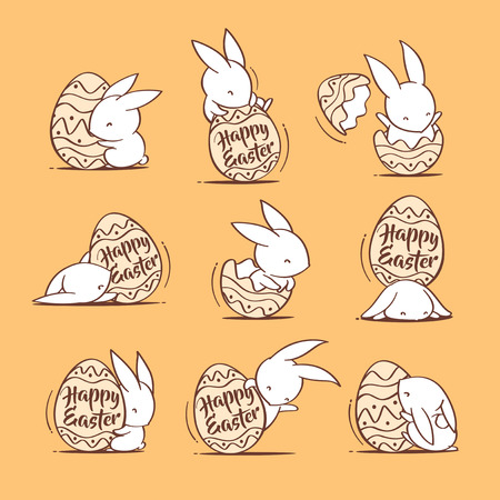 Collection of Easter bunnies and egg.