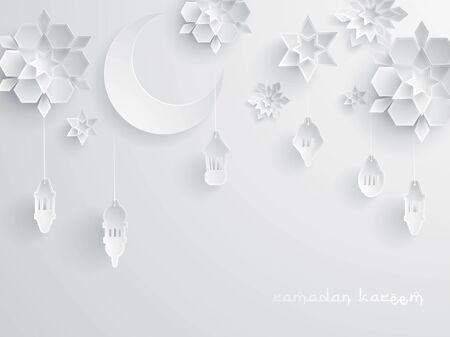 Paper graphic of Islamic decoration. Geometry art, Crescent moon and Arabic lantern. Ramadan Kareem - Glorious month of Muslim year.