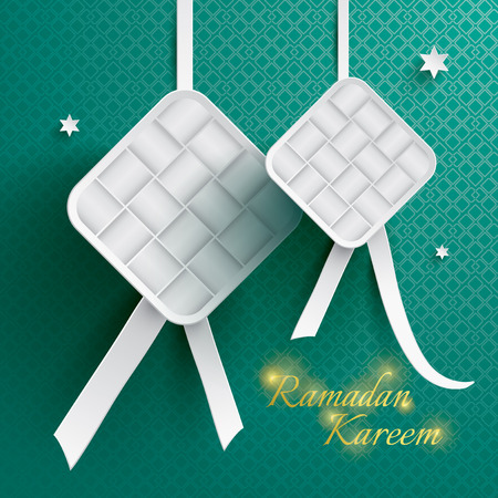 Paper graphic of ketupat (rice dumpling). Ketupat is one of the traditional muslim food that often served during Eid festival.
