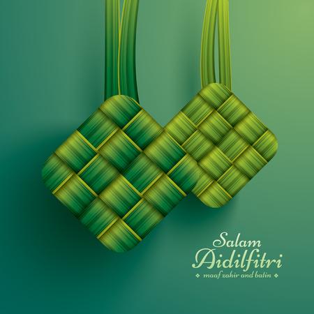 Ketupat (Reisknödel). Salam Aidilfitri bedeutet Festtag. Maaf zahir dan batin bedeutet bitte vergib (mir) äußerlich und innerlich.