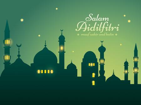 Ramadan-Hintergrund mit Schattenbildmoschee. Salam Aidilfitri bedeutet Festtag. Maaf zahir dan batin bedeutet bitte vergib (mir) äußerlich und innerlich. Vektorgrafik