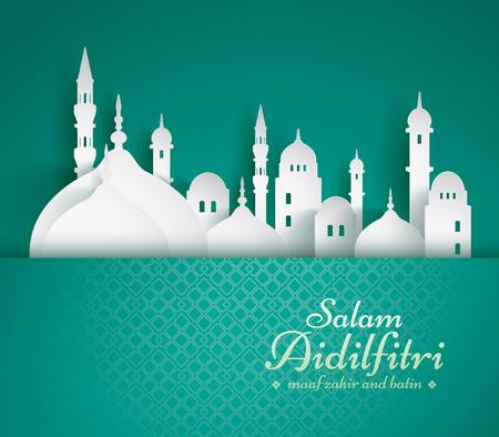 Papiergrafik der islamischen Moschee. Salam Aidilfitri bedeutet Festtag. Maaf zahir dan batin bedeutet bitte vergib (mir) äußerlich und innerlich. Vektorgrafik