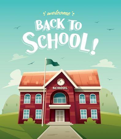 School building. Education. Vector illustration of school building for back to school poster or banner.