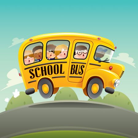 School bus. Back to school bus with kids.
