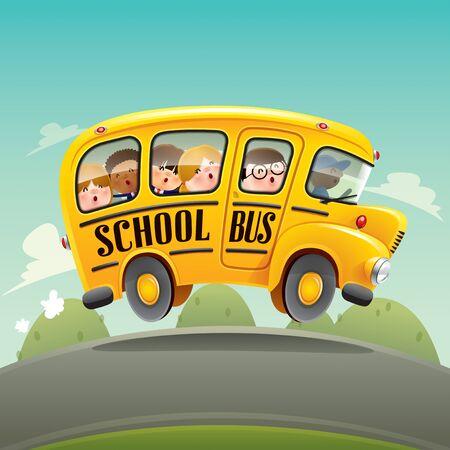 Schulbus. Zurück zum Schulbus mit Kindern.