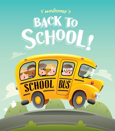 Back to School! Back to school bus with kids